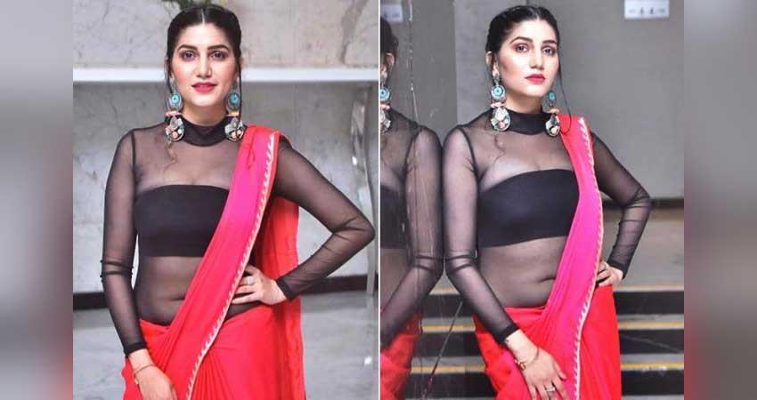 sapna choudhary  pink saree pics viral on social media