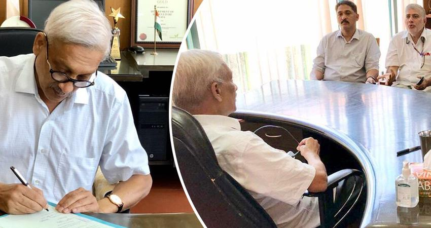 manohar-parrikar-goa-cm-visits-temples-chairs-meet-day-after-return-from-us