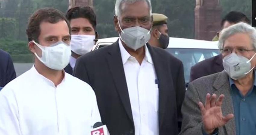 leaders of opposition parties rahul gandhi meet president on agriculture laws modi govt target rkdsnt