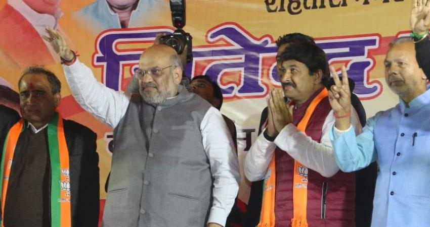 amit shah bjp challenge arvind kejriwal aap to sit in shaheen bagh protests against caa