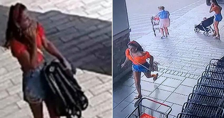 women stealing baby pram caught in cctv video