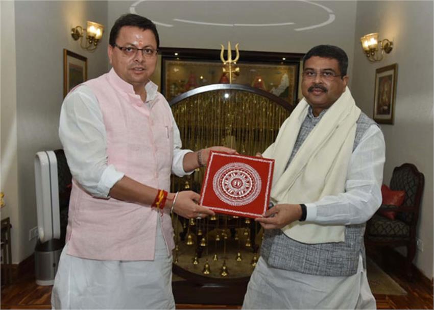 uttarakhand-cm-pushkar-dhami-meets-education-minister-asks-for-2-kendriya-vidyalayas