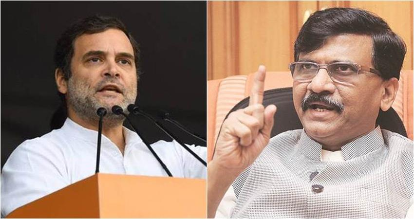shiv sena becomes aggressive due to rahuls statement said learn to respect great men