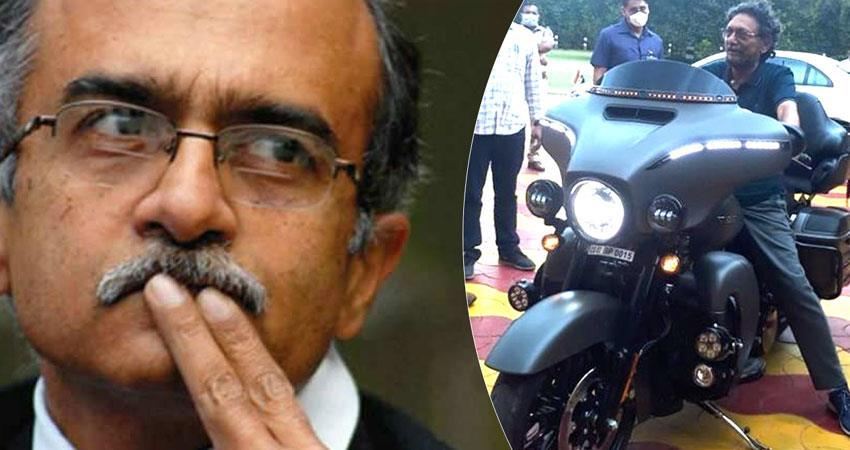 cji bobde spotted on harley davidcan bike prashant bhushan raises questions rkdsnt