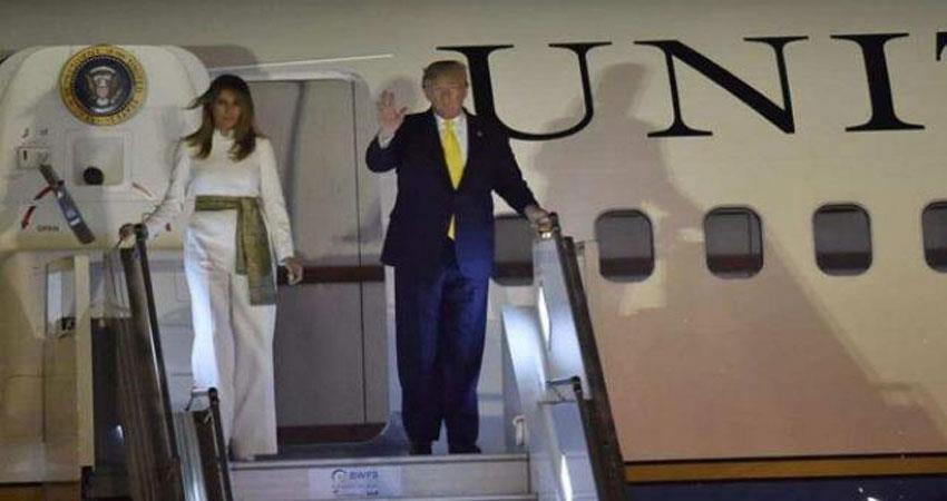 trump couple arrived in delhi after crowning taj