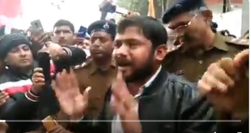 kanhaiya kumar restrained by bihar police jan gan man yatra against caa npr nrc