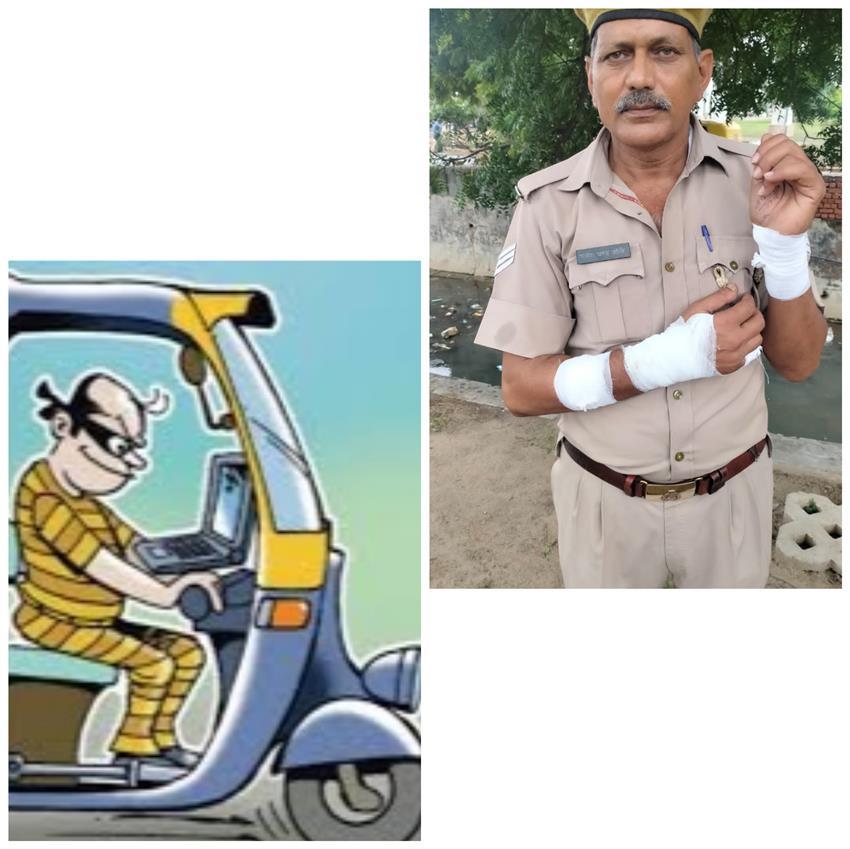 the-policeman-on-cm-duty-was-blown-up-by-the-auto-driver-stirred-up